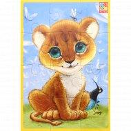 Игра настольная «Мягкие пазлы А5» львенок, 12 деталей.