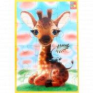 Игра настольная «Мягкие пазлы А5» жирафчик, 12 деталей.
