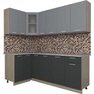 Готовая кухня «Интерлиния» Мила 12х21, серебро/антрацит