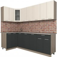 Готовая кухня «Интерлиния» Мила 12х24, вудлайн кремовый/антрацит