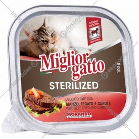 Корм «Miglior gatto sterilized» говядина, печень и морковь, 100 г.
