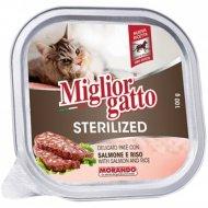 Корм «Miglior gatto sterilized» с лососем и рисом, 100 г.