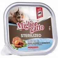 Корм «Miglior gatto sterilized» с рыбой и креветками, 100 г.
