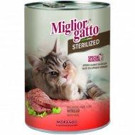 Паштет «Miglior gatto sterilized» с телятиной, 400 г.