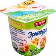 Продукт йогуртный «Эрмигурт» легкий, персик-маракуйя, 0.3%, 100 г.