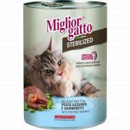 Паштет «Miglior gatto sterilized» с рыбой и креветками, 400 г.