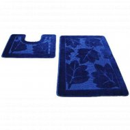 Набор ковриков для ванной комнаты, 60х100+60х50 см, индиго.