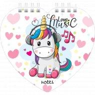 Блокнот «I Love Music» фигурный, 60 л.