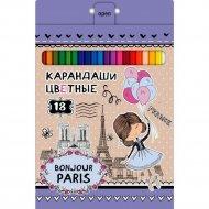 Карандаши цветные «Bonjour Paris» 18 цветов.