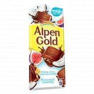 Шоколад «Alpen Gold» кокос, инжир и соленый крекер, 85 г.