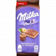 Шоколад молочный «Milka» с ореховой пастой и дробленым фундуком, 90 г.