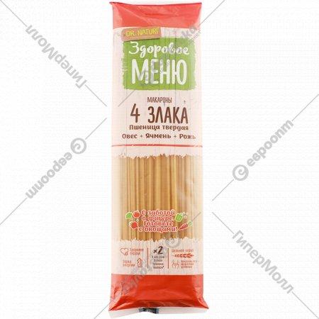 Макаронные изделия «Здоровое меню» 4 злака, спагетти, 400 г.