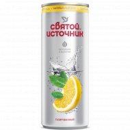 Напиток газированный «Святой Источник» с лимоном и мятой, 0.33 л.
