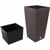Горшок «Prosperplast» пластиковый Rato square, коричневый