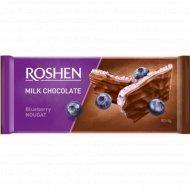 Шоколад молочный «Roshen» с черничной нугой, 90 г.