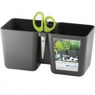Горшок «Prosperplast» пластиковый Flower pot Twins cube - Graphite