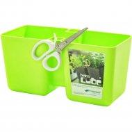 Горшок пластиковый Flower pot Twins cube-LIME