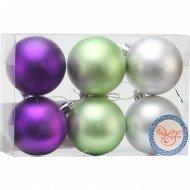 Украшение подвесное «Ассорти фиолетовое, зеленое, серебряное» 6 шт.