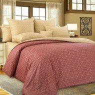 Комплект постельного белья «Моё бельё» Этюд, бордовый, Евро