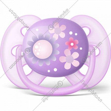Пустышка силиконовая «Ultra Soft» декор, 6-18 мес, 1 шт., для девочки.