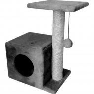 Комплекс для кошек «Cat House» с боковой полкой, джут серый, 58 см