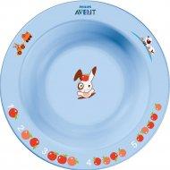 Глубокая тарелка малая голубая, розовая.