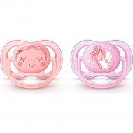 Пустышка «Ultra Air» декор для девочки, 0-6 месяцев, 2 шт.