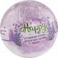 Бурлящий шар для ванн двухцветный с цветками лаванды, 130 г.