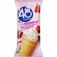 Мороженое пломбир «48 копеек» с малиной и малиновым вареньем, 90 г.