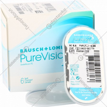 Линзы контактные мягкие «PureVision 2» balafilcon A, r8,6/d-6,0.