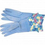 Перчатки хозяйственные с флисом, резиновые