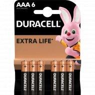 Комплект батареек «Duracell» LR03 BL6, 6 шт