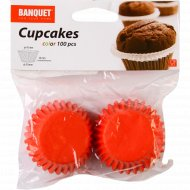 Набор форм для кексов, 4.5 х 2 см, 100 шт, красный.