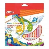 Карандаши цветные акварельные, 24 цвета.