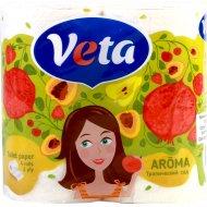 Бумага туалетная «Veta Aroma» c ароматом тропический сад, 4 рулона.