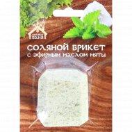 Соляной брикет «Соляная баня» мини с эфирным маслом мята, 200 г.