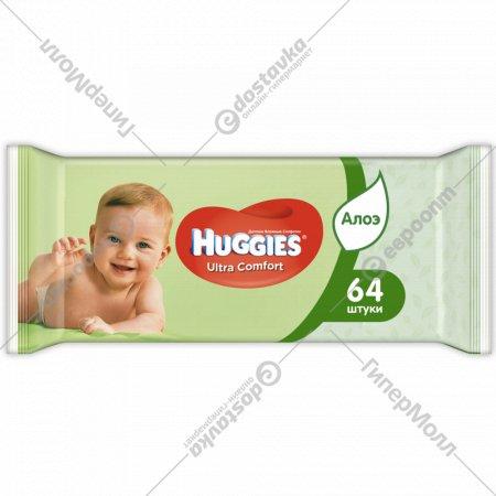 Влажные салфетки «Huggies» алоэ вера, 64 шт.