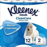 Туалетная бумага «Kleenex», двухлойная, 12 рулонов.