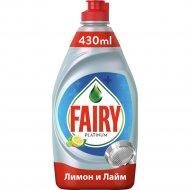 Средство для мытья посуды «Fairy» Platinum, лимон и лайм, 430 мл
