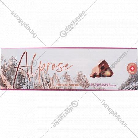 Шоколад молочный «Alprose» с изюмом и цельным лесным орехом, 300 г
