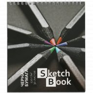 Скетчбук «Карандаши» 30 листов, А5, черная бумага, гребень.