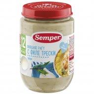 Пюре «Semper» овощное рагу с филе трески, 190 г.