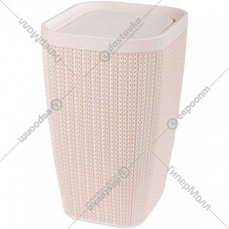 Контейнер для мусора «Вязаное плетение» бежевый, 10 л.