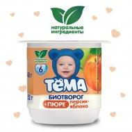Продукт творожно-фруктовый «Тёма» с персиком и яблоком, 2.5%, 100 г.