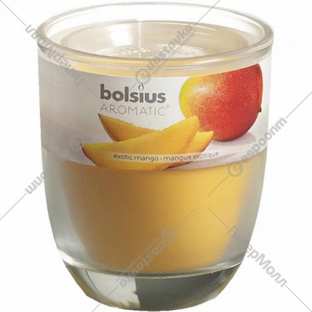 Свеча в стекле, 80х70 мм, с ароматом манго.