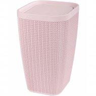 Контейнер для мусора «Вязаное плетение» розовый, 10 л.