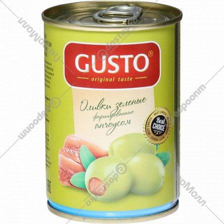 Оливки зеленые «Gusto» фаршированные анчоусом, 280 г.