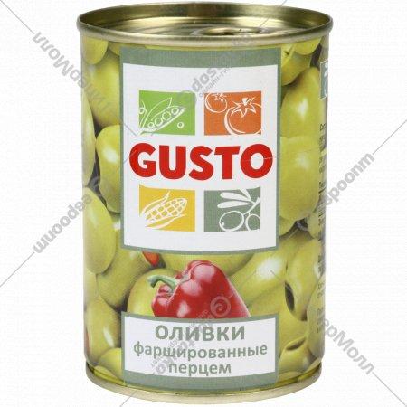 Оливки «Gusto» фаршированные перцем, 280 г.