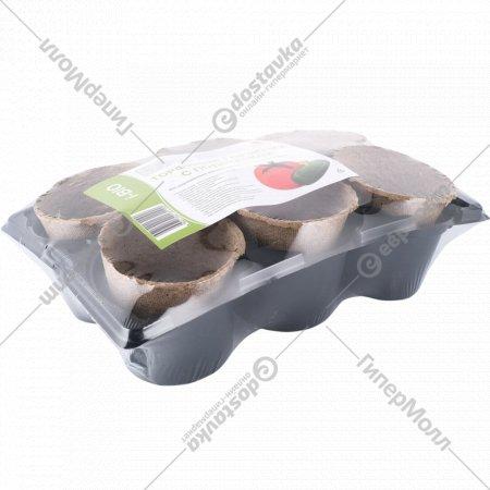 Торфяные горшочки с подставкой, 6 шт.