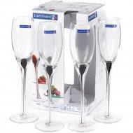 Набор бокалов для шампанского «Luminarc» Drip black, 4 шт, 220 мл